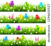 easter eggs on grass with bunny ... | Shutterstock .eps vector #1296635527
