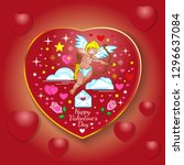 valentine card with hearts and... | Shutterstock .eps vector #1296637084
