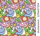 seamless raster pattern with... | Shutterstock . vector #1296637204