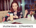 beautiful woman on a date her... | Shutterstock . vector #1296640621