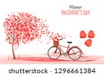 Stock vector valentine s day background with bicycle with red heart shape balloons concept of love vector 1296661384