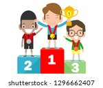 children with medals for... | Shutterstock .eps vector #1296662407