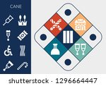 cane icon set. 13 filled cane... | Shutterstock .eps vector #1296664447