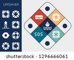 lifesaver icon set. 13 filled... | Shutterstock .eps vector #1296666061