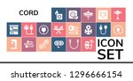 cord icon set. 19 filled cord... | Shutterstock .eps vector #1296666154