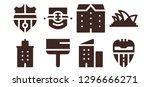skyscraper icon set. 8 filled... | Shutterstock .eps vector #1296666271