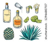 tequila bottle  shot glass and... | Shutterstock .eps vector #1296680707