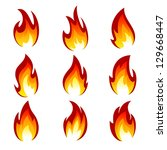 flames of different shapes on a ... | Shutterstock .eps vector #129668447