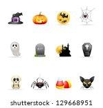 halloween icon series in colors. | Shutterstock .eps vector #129668951