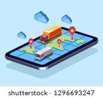 big trucks moving on online web ...   Shutterstock .eps vector #1296693247