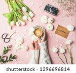 flat lay of female hands in... | Shutterstock . vector #1296696814