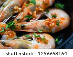 seafood plate with shrimps... | Shutterstock . vector #1296698164