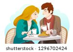 couple sitting at a table and... | Shutterstock .eps vector #1296702424