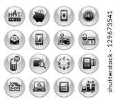 shopping icons  gray round... | Shutterstock .eps vector #129673541