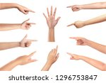 set of woman hands isolated on... | Shutterstock . vector #1296753847