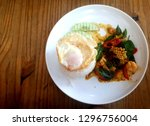 rice topped with stir fried... | Shutterstock . vector #1296756004