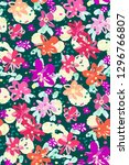 colourful flowers seamless... | Shutterstock .eps vector #1296766807