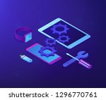 tablet  smartphone and... | Shutterstock .eps vector #1296770761