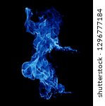 blue smoke black background. | Shutterstock . vector #1296777184
