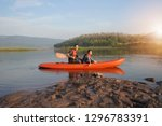 father and daughter rowing boat ... | Shutterstock . vector #1296783391