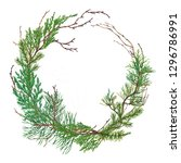 elegant christmas wreath of... | Shutterstock . vector #1296786991