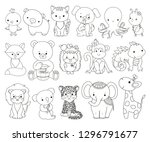 cute animals line art set.... | Shutterstock .eps vector #1296791677
