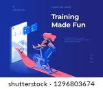 a woman doing a workout on a... | Shutterstock .eps vector #1296803674