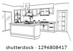 kitchen black and white sketch... | Shutterstock .eps vector #1296808417