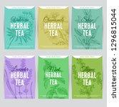 beautiful vector hand herbal... | Shutterstock .eps vector #1296815044