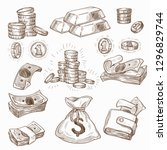 coins and banknotes money and... | Shutterstock .eps vector #1296829744