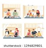 home kitchen interior family... | Shutterstock .eps vector #1296829801