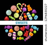 candies and caramel sweets... | Shutterstock .eps vector #1296830227