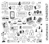 set of social media doodles | Shutterstock .eps vector #1296850567