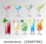 set of realistic cocktails  on... | Shutterstock .eps vector #1296857881