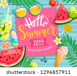 hello summer 2019 pink card or... | Shutterstock .eps vector #1296857911