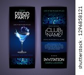 disco invitation to cocktail... | Shutterstock .eps vector #1296858121