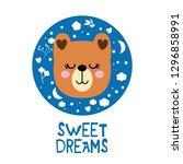 bear cartoon  vector print ... | Shutterstock .eps vector #1296858991