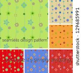 set of seamless pattern with... | Shutterstock .eps vector #129685991