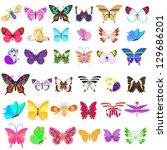 Stock vector set of butterflies 129686201