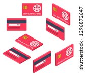 credit cards isometric set.... | Shutterstock .eps vector #1296872647