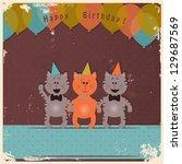 happy birthday card with kitten ...   Shutterstock .eps vector #129687569