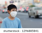 asian children wearing mask n95 ... | Shutterstock . vector #1296885841
