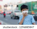 asian children wearing mask n95 ... | Shutterstock . vector #1296885847