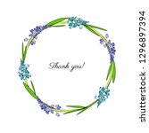 decorative round frame muscari... | Shutterstock .eps vector #1296897394