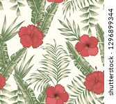 tropical flowers red and white... | Shutterstock .eps vector #1296899344