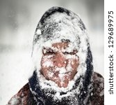 Man Covered By Snow In Heavy...