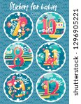 set of six marine stickers with ... | Shutterstock .eps vector #1296905221