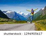 young hipster female traveler... | Shutterstock . vector #1296905617