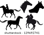 Stock vector five silhouettes of horses horse heads and riders 129692741