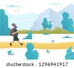 man with a backpack goes hiking ... | Shutterstock .eps vector #1296941917